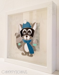 connylicious - Richard Raccoon Winteredition - Acryl auf Glas