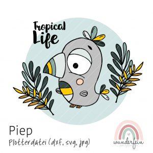 Plotterdatei Tukan Piep - tropisches Motiv für Jungen und Mädchen