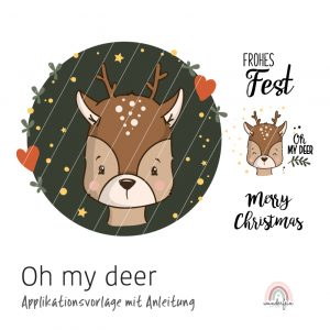 Applikation DIY Nähanleitung Rentier Oh my deer von wunderfein