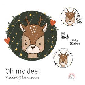 Plotterdatei Rentier oh my deer von wunderfein