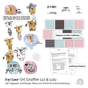 Digistamp Giraffen mit Digipaper und Kurzanleitung von wunderfein
