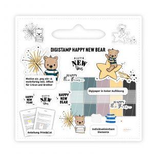Digistamp Happy new year Bär mit Wunderkerze, Bär auf Sternschnuppe, Digipaper, Print&Cut,