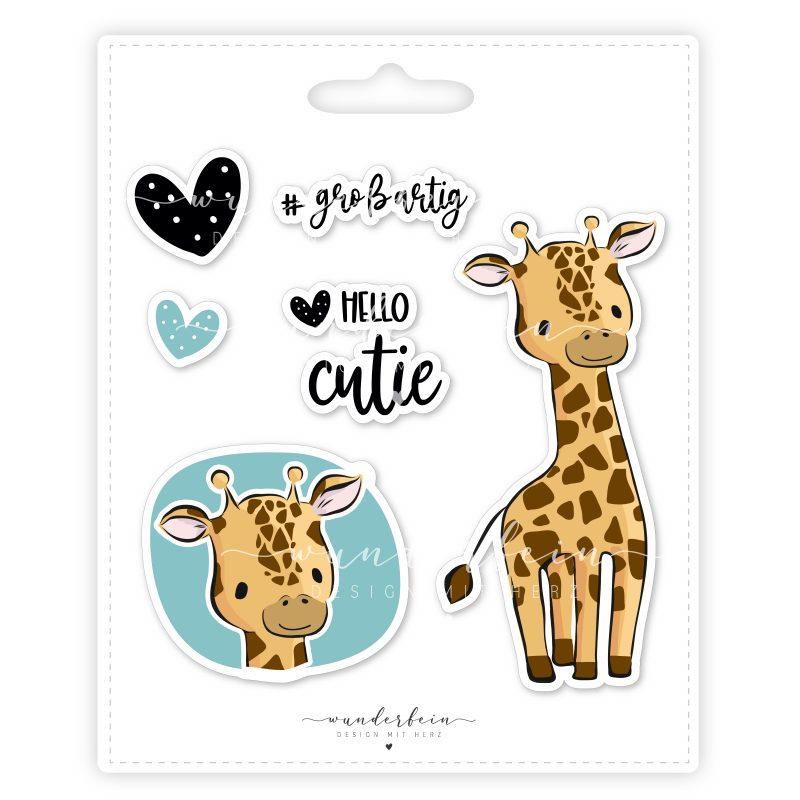 Bügelbild Giraffe Lui von Wunderfein, PVC-frei, A5, Öko-tex zertifiziert