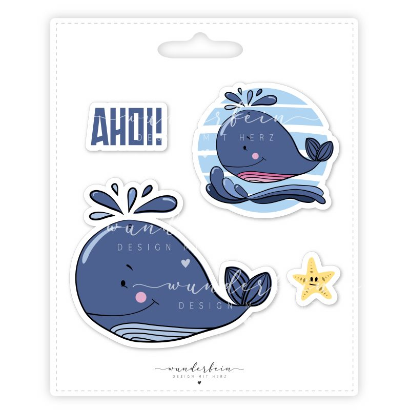 Bügelbild Wal von Wunderfein, Set aus Flexfolie, PVC-frei