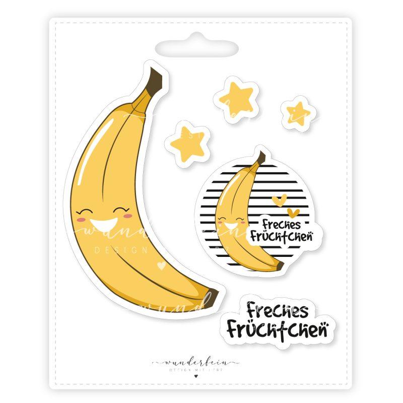 Bügelbild Banane mit Sternen, Button und Schriftzug