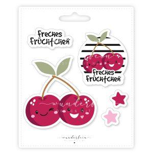 Bügelbilder Set Freche Früchtchen Kirschen Sterne Button