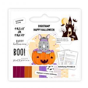 Digistamp Happy Halloween Nashorn Fleur im Kürbis mit Geisterschloss und Schriftzügen